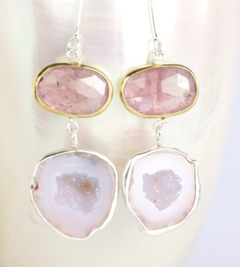 Pink Rose Cut Sapphire Earrings With Baby Geode Drops