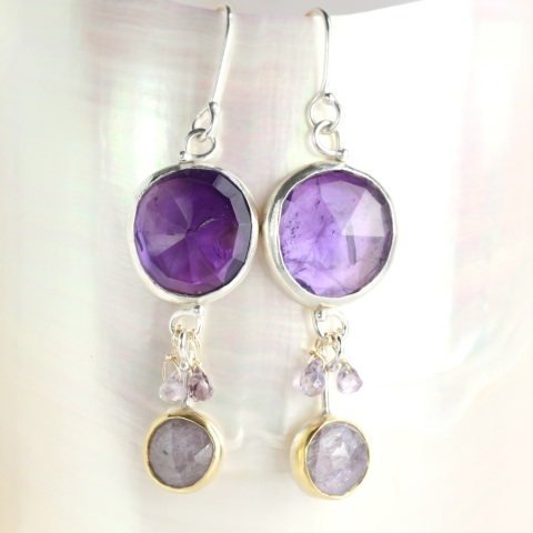 Rose Cut Amethyst & Purple Sapphire Earrings With Sapphire Briolettes