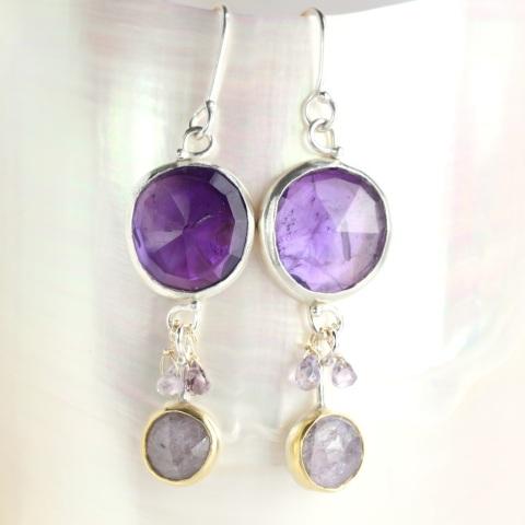 Rose Cut Amethyst & Purple Sapphire Earrings With Sapphire Briolettes