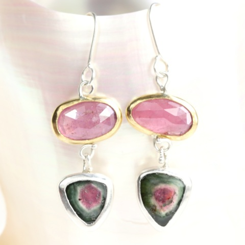 Rose Cut Pink Sapphire Earrings With Watermelon Tourmaline Slices