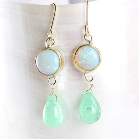 Australian Opal Earrings With Emerald Drops
