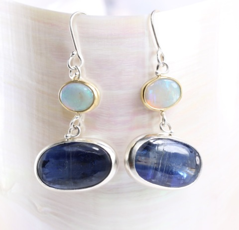 Australian Opal Earrings With Blue Kyanite Drops
