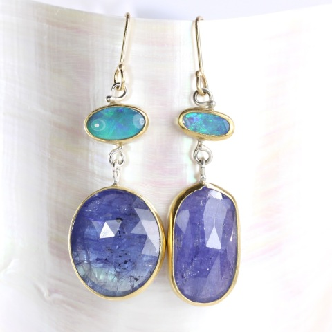 Lighting Ridge Opal Earrings With Rose Cut Tanzanite Drops