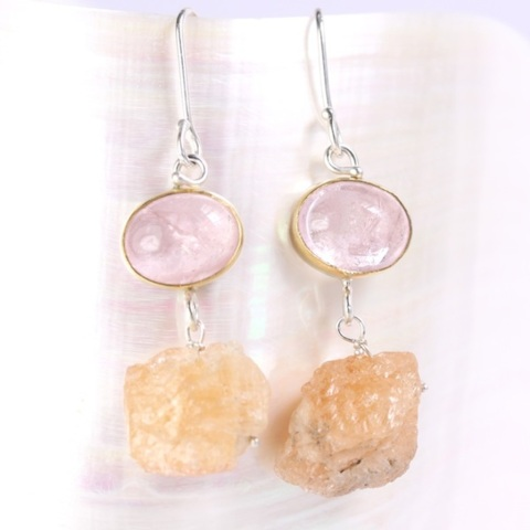 Morganite Earrings With Raw Topaz Crystal Drops