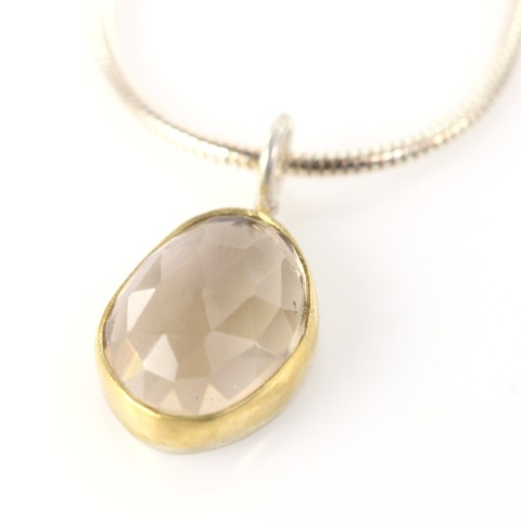 Rose Cut Champagne Citrine Pendant Necklace