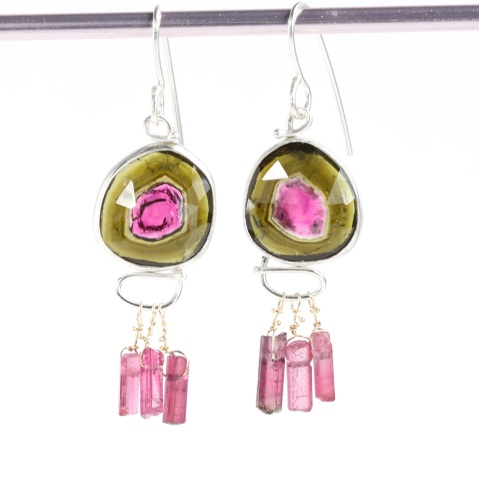 Rose Cut Watermelon Tourmaline Earrings with Raw Crystal Drops