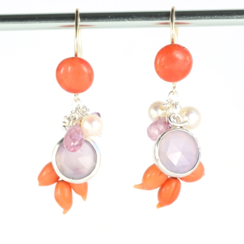 Recycled Coral Earrings with Purple Chalcedony, Sapphires & Pearls