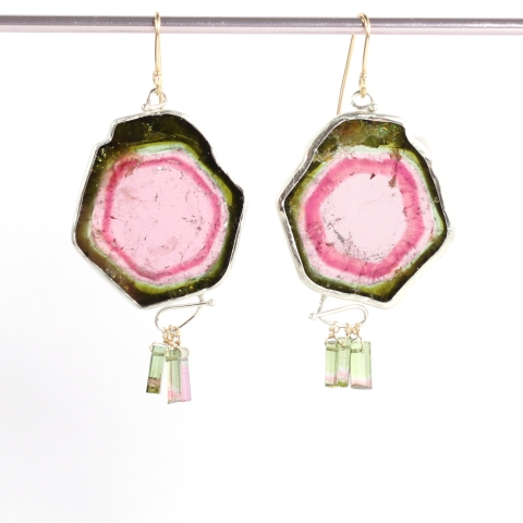 Tourmaline Slice Earrings with Raw Crystal Drops