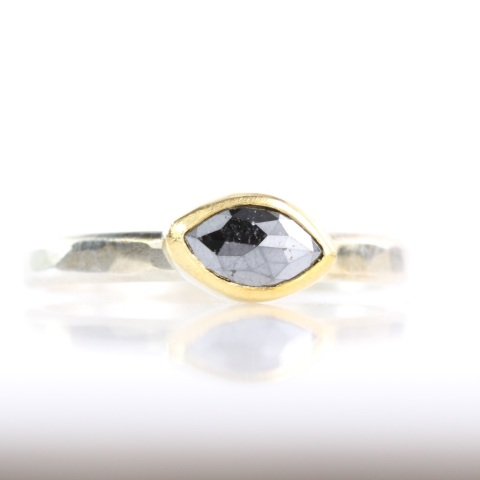 Rose Cut Black Diamond Marquise Ring