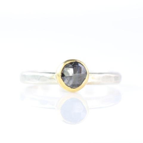 Rose Cut Black Sapphire Ring