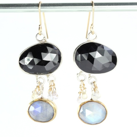 Black Spinel Earrings With Rainbow Moonstones Sapphire Briolettes