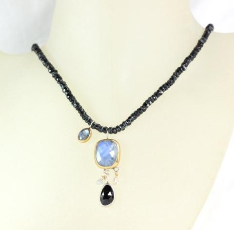 Moonstone Black Spinel Necklace On Zebra Jade
