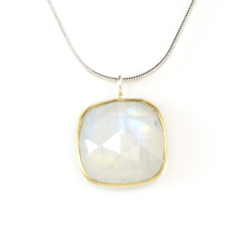 Square Rainbow Moonstone Pendant