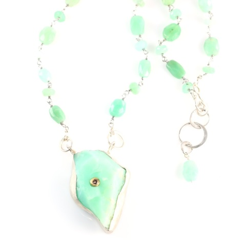 Rough Chrysoprase Pendant Necklace Set With A Diamond