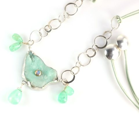 Raw Chrysoprase Pendant Necklace With Emerald Drops & Set With An Australian Opal