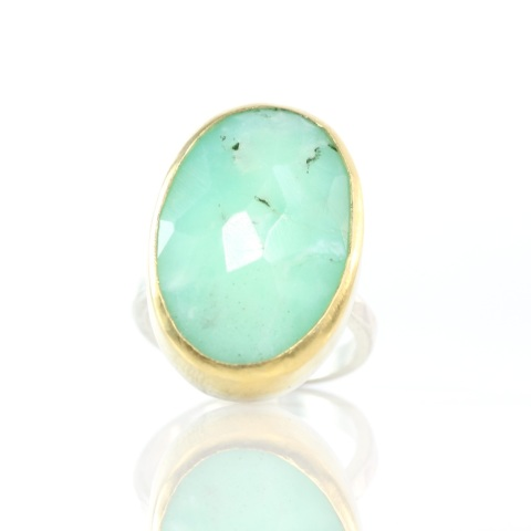 Rose Cut Chrysoprase Ring