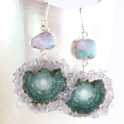 Australian Boulder Opal Earrings With Stalactite Drops
