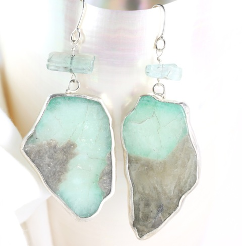 Sugarcane Emerald Drop Earrings With Raw Tourmaline Crystals