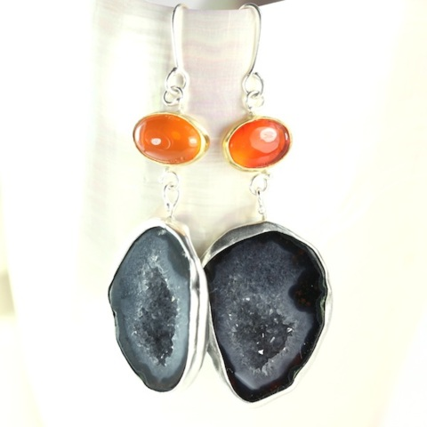 Mexican Fire Opal Earrings With Geode Drops