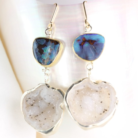 Geode Opal Earrings 1-2015