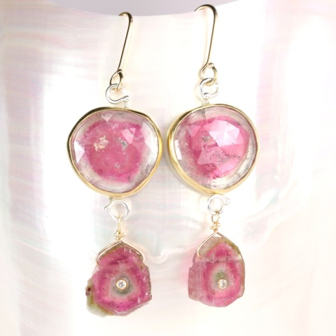 Rose Cut Tourmaline Earrings With Watermelon Slices Set With Diamonds
