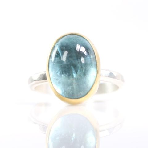 Aquamarine Oval Cabochon Ring