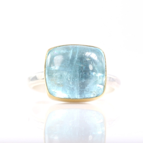 Aquamarine Square Cabochon Or Sugarloaf Cut Ring