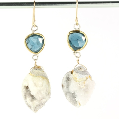 Rose Cut Indicolite (Blue Tourmaline) Earrings With Druzy Fossil Seashells