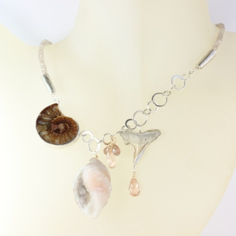 Ammonite Druzy Fossil Seashell & Shark Tooth Necklace With Oregon Sunstones & Andalusite Garnets - Strand Of Natural Zircon
