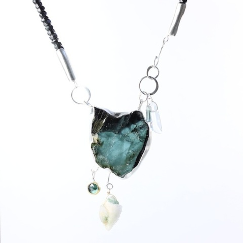 Indicolite Specimen Slice Necklace With Druzy Fossil Seashell, Blue Tourmaline Rose Cut & Crystals On Zebra Jade Strand