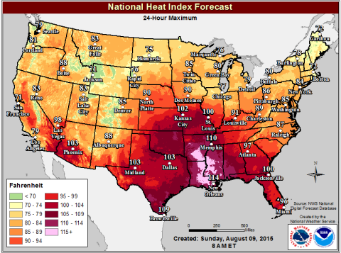 National Weather Service Heat Index Map