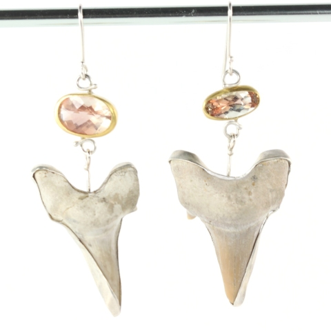 Oregon Sunstone Earrings With Shark Teeth