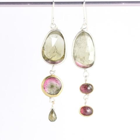 "Rose Cut Tourmaline & Watermelon Tourmaline Triple Drop ""Miss Matched"" Earrings"