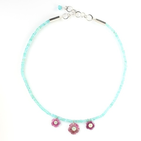 Carved Pink Tourmaline Flower Necklace With Australian Opals On Apatite Strand