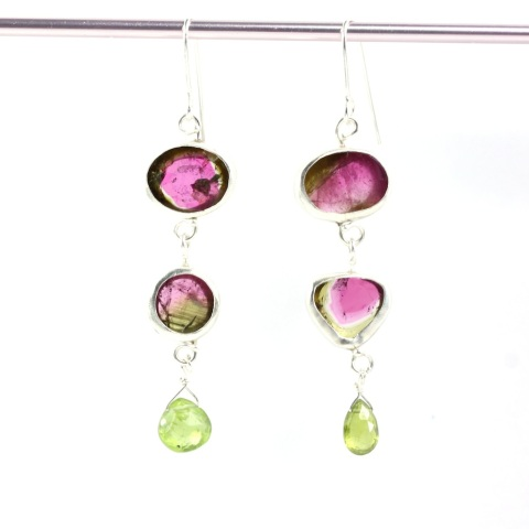 Watermelon Tourmaline Double Drop Miss Matched Earrings With Peridot Briolettes