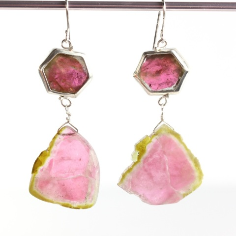 Rubelite Crystal Earrings With Raw Watermelon Tourmaline Slice Drops