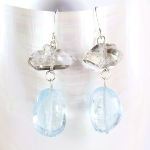 Herkimer_Diamond_Aquamarine_Earrings 1-2016.JPG