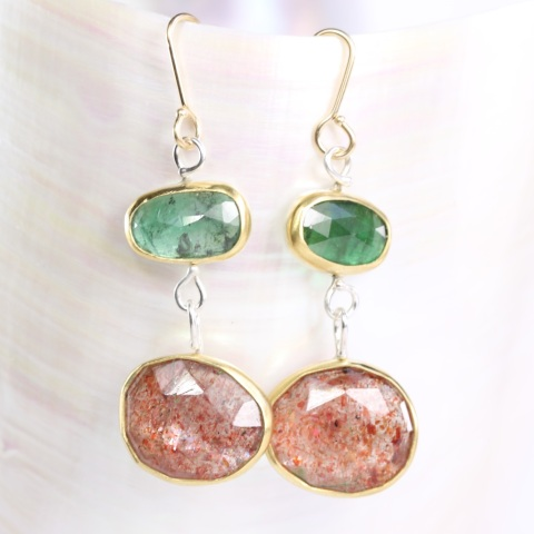 Rose_Cut_Emerald_Sunstone_Earrings 1 2017